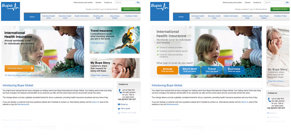 AB Testing for Bupa landing page. Several iterations of the homepage were created to monitor and find a better customer journey to explore their various insurance offerings.