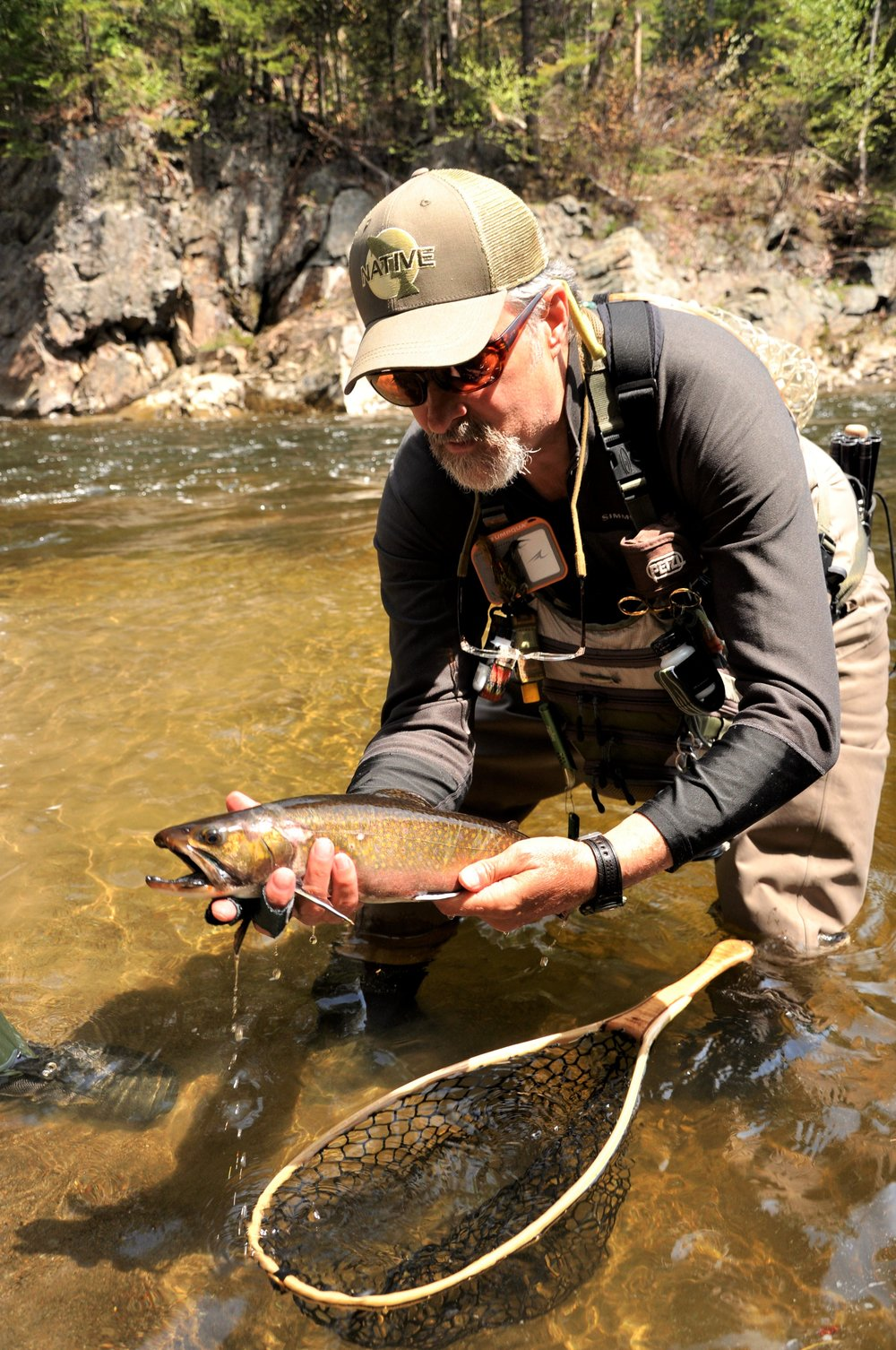 NFC Member Bob Mallard with Native Brook Trout (Dead Diamond River, NH).JPG