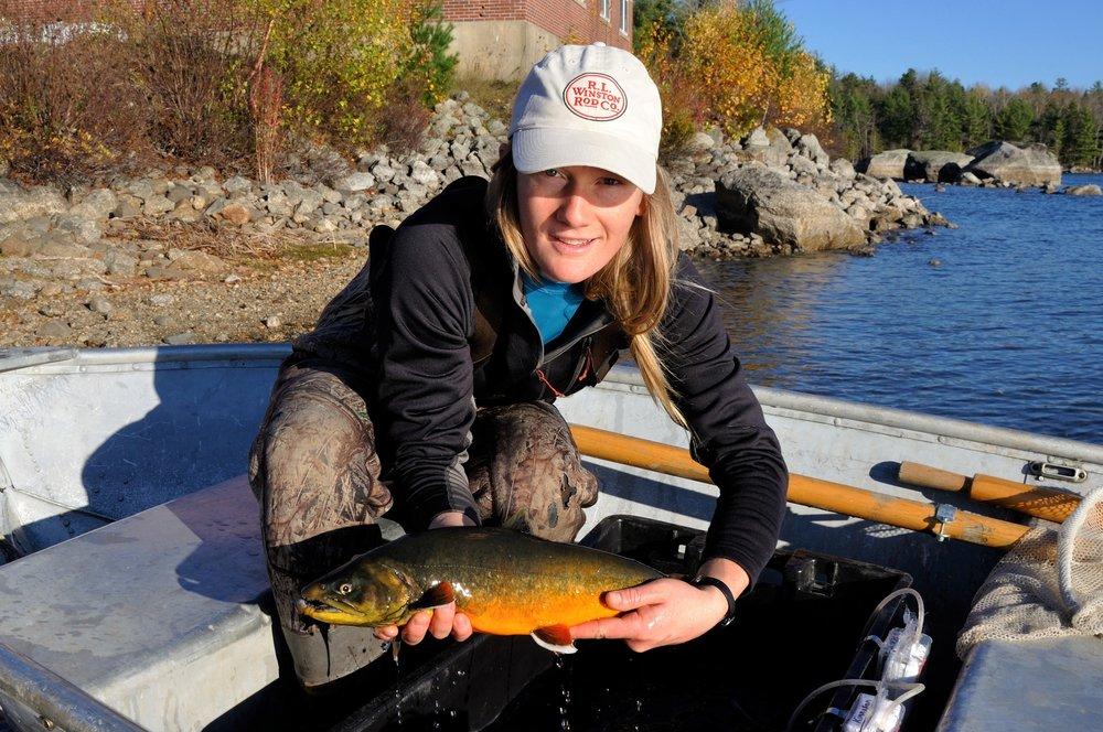 Author with rare Arctic charr from Floods Pond in Maine