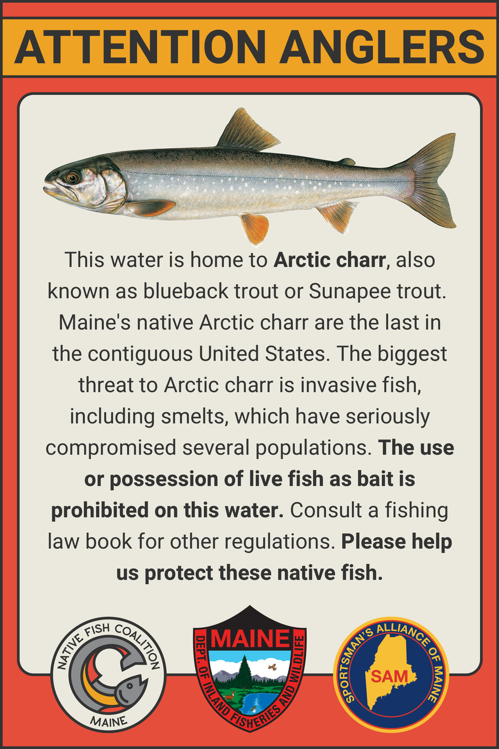 Maine Arctic Char Sign Draft