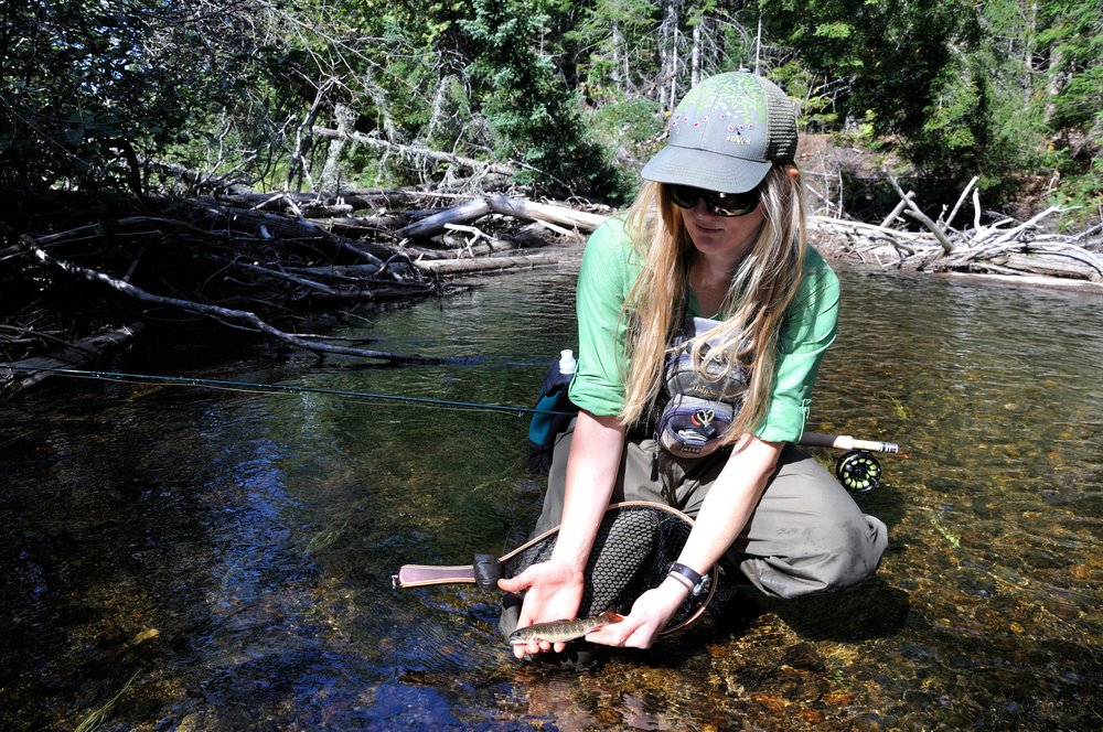 NFC Member Emily Bastia with Native Brook Trout (Katahdin Woods and Water National Monument, ME) Bob Mallard.JPG