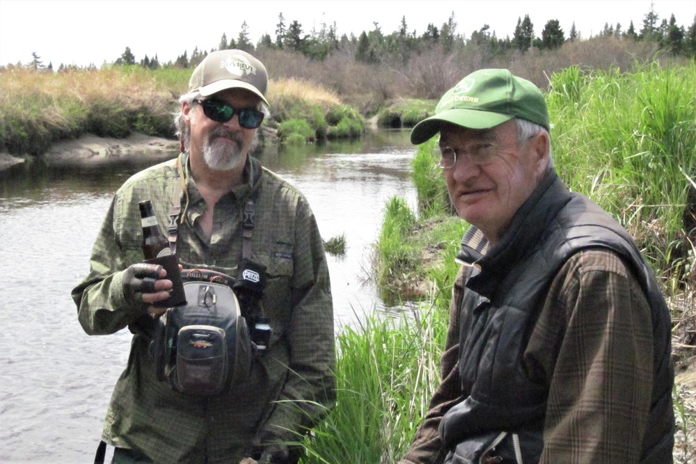 Bob Mallard and Ted Williams fishing for salters in Downeast, Maine.