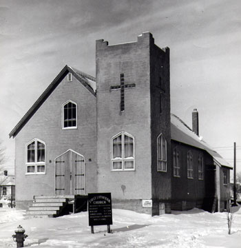 The First Lutheran Church was completed in 1949. It was destroyed by fire in December 1983.