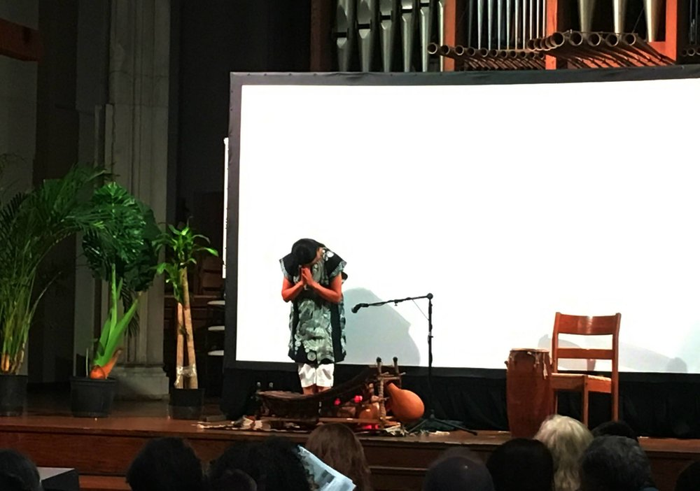 Valerie Naranjo, composer/percussionist performing traditional music of Benin and Haiti.