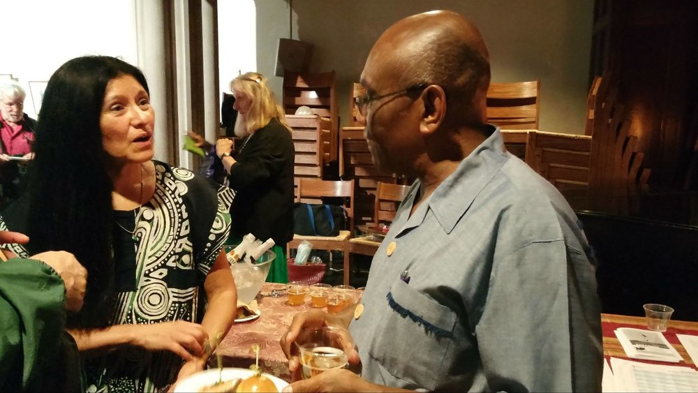 Valerie Naranjo, composer/percussionist, and Father Joseph Philippe, CSSP