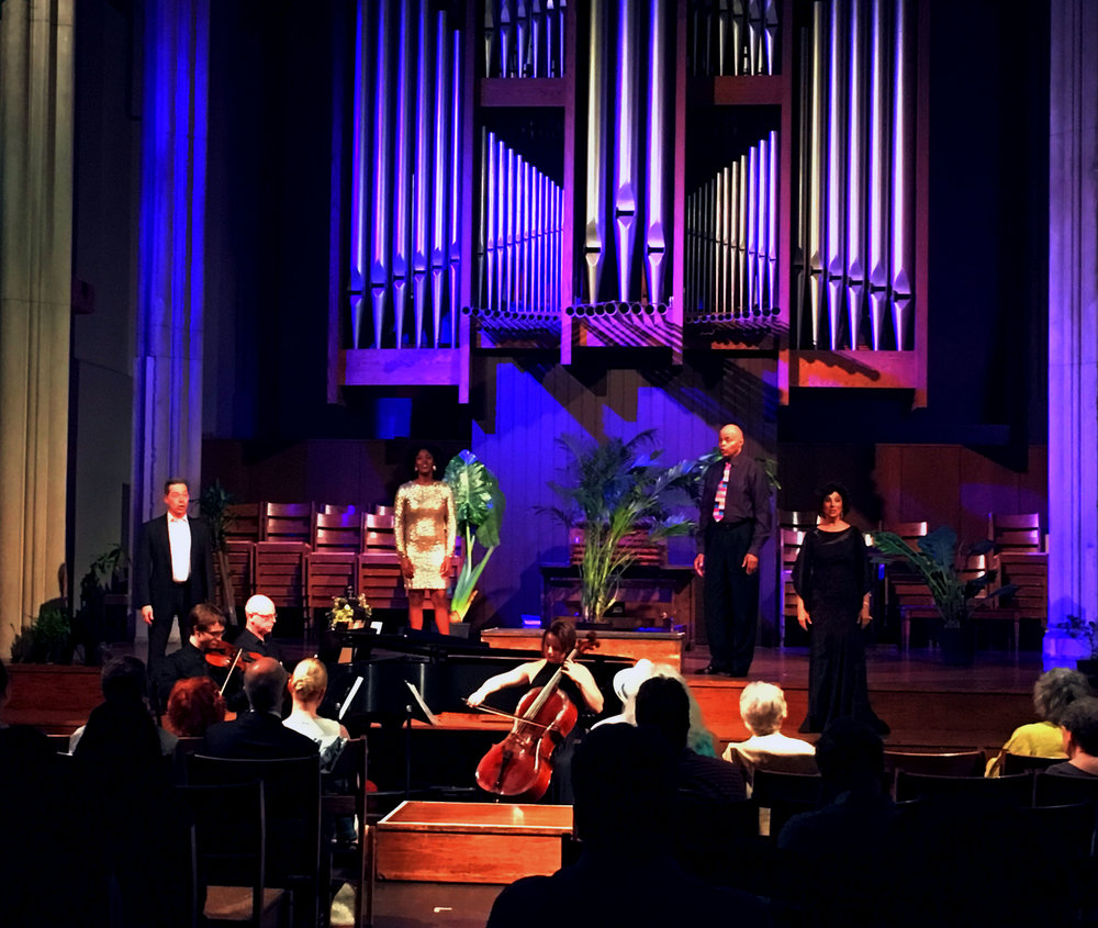 Mark Watson (baritone), Alicia Waller (soprano), Irwin Reese (tenor), and Amy Gluck (mezzo) with Richard Pearson Thomas (pianist) and Arthur Moeller (violinist).