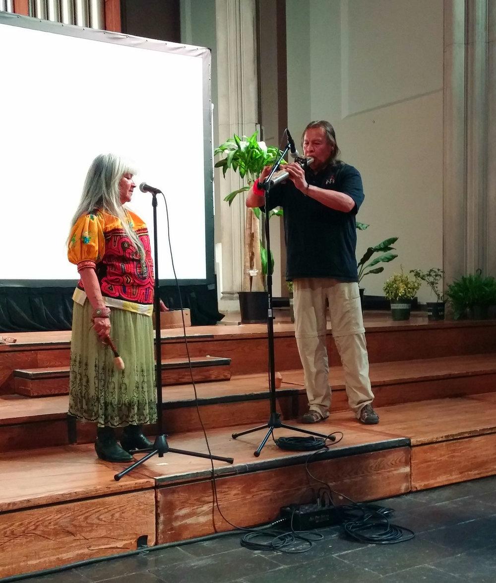 NATIVE AMERICAN MUSIC:  SONI MORENO (Mayan/Apache/Yaqui) founder of Ulali, a native women's a capella trio, Broadway performer, and Board member of American Indian Community House (AICH).  &  TIOKASIN GHOSTHORSE (Oyate Tokaheya Wicakiye) master musician of the ancient red cedar Lakota flute and worldwide performer.