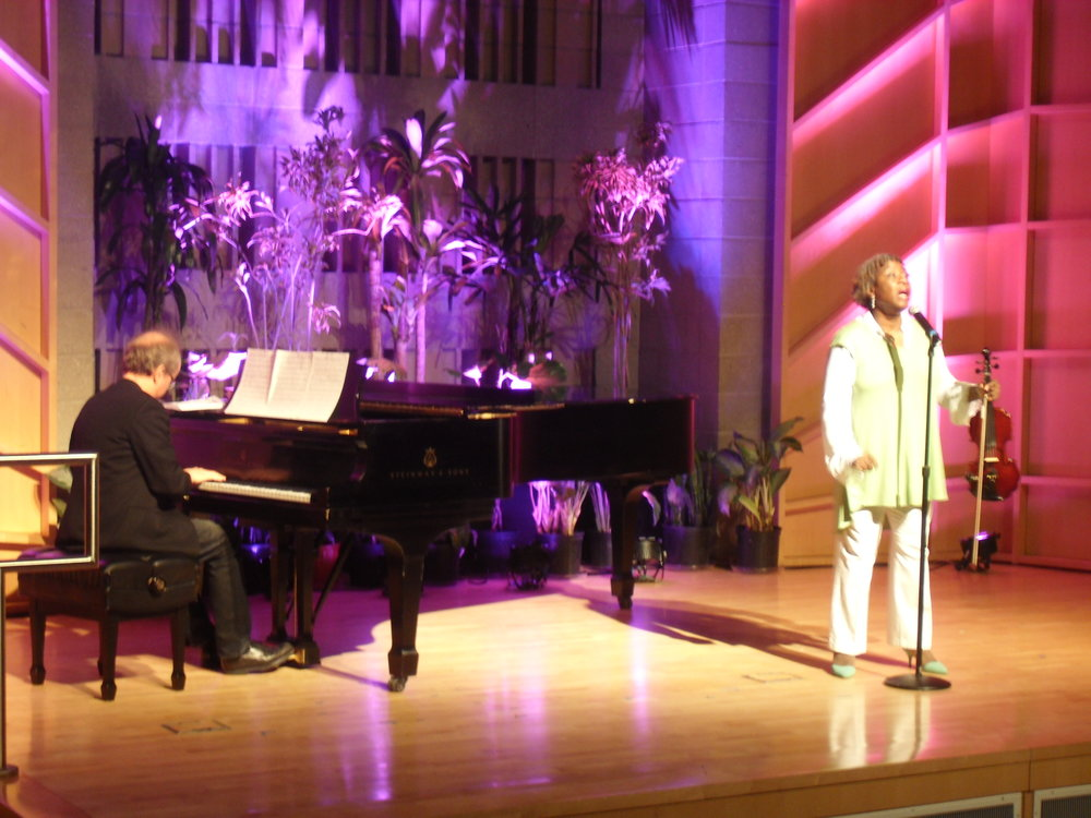 Pamela Hamilton, Jazz Vocalist & Violinist with Norman Pors, Pianist perform before the film  ECO-PIRATE  by Trish Dolman.