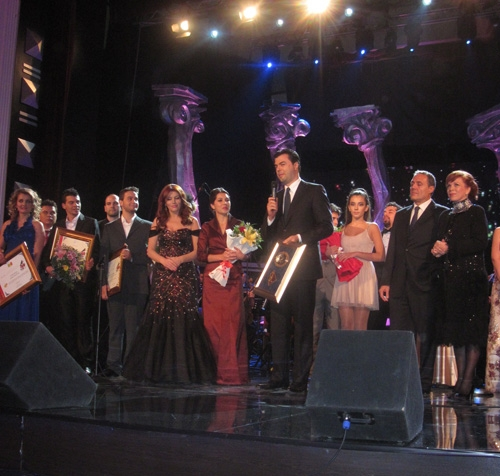 Marie Kraja Winners onstage with Zana Cela (Producer), Sara Heaton (1st Place Winner hosted by Encompass), the Mayor of Tirana, Luca Target (Jury Member, La Scala Opera), and Inva Mula (opera singer from Albania)