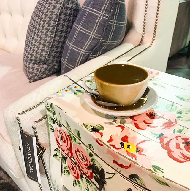 Celebrating #nationalcoffeeday with our favorite seat, beautiful side chair and our cup of coffee. We just need to work on our pouring. 🤦🏼♀️ And can we just talk about this side table we got in. If you don't come and snatch it, it might come home with me. 😉