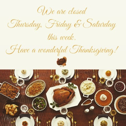 We hope everyone is getting ready for #thanksgiving this week. We will be here tomorrow and Wednesday.  #happyturkeyday #thankful #family #friends #food #football