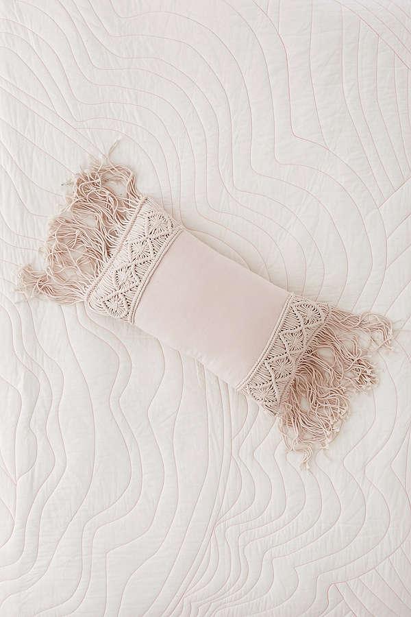 aiko crochet fringe bolster pillow