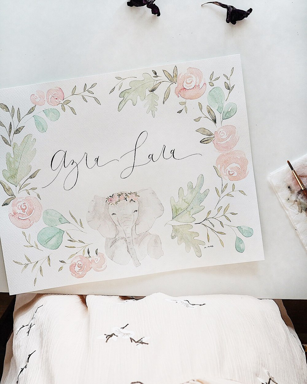 A few weeks ago one of my childhood friends asked if I could create a custom piece for her new baby niece's nursery. She wanted a sweet little animal, some florals, and her niece's name.  THEN another friend asked if I could create a nursery piece for her friend's new little girl. She wanted a sweet, little animal, some florals, and the baby girl's name.  And THEN I received ANOTHER order from a friend asking for a nursery piece for her friend's new baby girl. She wanted a sweet, little animal, some florals, and the baby girl's name.  Sorry, that was kinda repetitive. But you get the point. Baby girl nursery pieces rock!  So I wanted to share some photos of these custom pieces that are new to the shop.  They're one of my favorites to paint right now. Cuz I'm not really sure there's anything cuter than baby animals surrounded by florals?  But anywho, if you're interested in ordering your own, contact me  here .  These little commissions are available in sizes 8x10 and 11x14.  Prices start at $50.  & they're darling in a nursery  xx