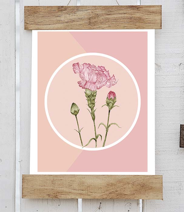 Retro Carnation Print