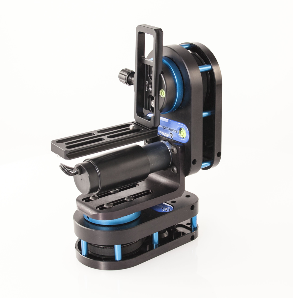 3-Axis Timelapse- The Stage R - Dynamic Perception Rotary System is a tough-as-nails lightweight multi-stage motion control unit. Use it as a standalone pan or tilt timelapse and real-time video platform, combine two units for 2-axis pan and tilt motion or add two units to your slider for full 3-axis motion control.