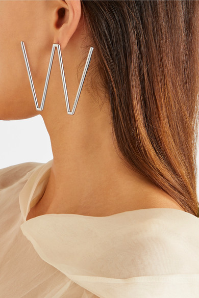 OFF WHITE SILVER TONE EARRINGS - 30% OFF