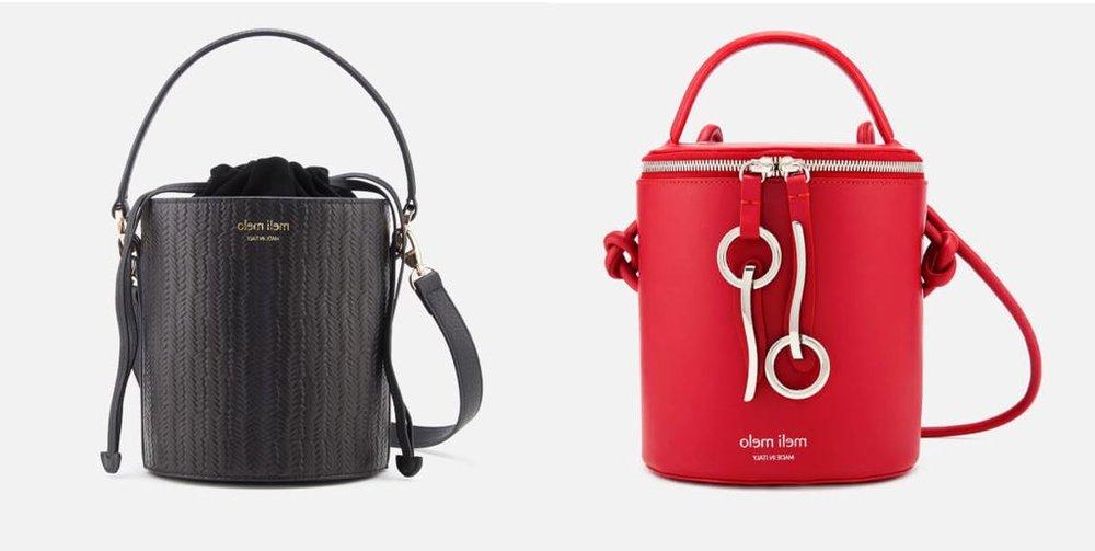 1.  meli melo Women's Santina Mini Woven Bucket Bag - Black Woven   2. meli melo Women's Severine Bucket Bag - Red