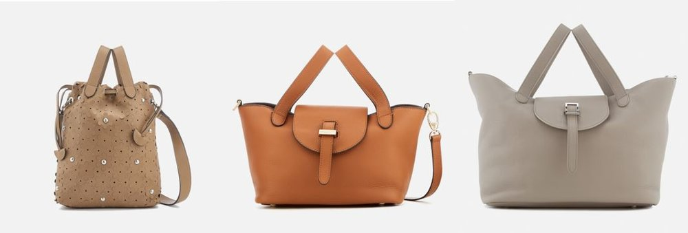 1. meli melo Women's Hazel Daisy Laser Cut Bag - Light Tan    2. meli melo Women's Thela Mini Floater Bag - Tan (One of their signature bags!)  3. meli melo Women's Thela Tote Bag - Taupe (Perfect for traveling!)