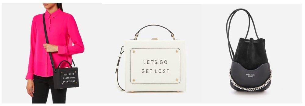 1. meli melo Women's Art Bag with Text - Black These sayings are so cute!  2. meli melo Women's Art Bag with Text - White   3.  meli melo Women's Hetty Chain Handle Bag - Black