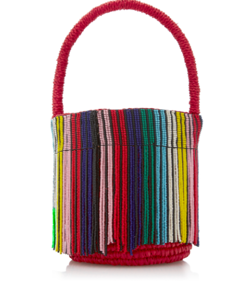Sensi Studio Mini Mini Bucket Bag - $292  I thought this bucket bag is so so cute!! especially the rainbow strings on top of red bag