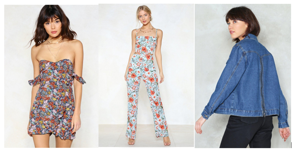 1.  In the Garden Floral Romper  - $30 Available in all sizes  2.  Grow Up Floral Jumpsuit  - $36 I love this jumpsuit's print and the cutout! A great statement investment. Available in all sizes  3.  Back to It Zip Denim Jacket  - $42 I thought this oversized denim jacket is pretty cool with a zipper at the back! You never can have too many denim jackets, they are so easy to style with! And the price for this one isn't bad at all, you could easily find one that's over $100. All sizes available.