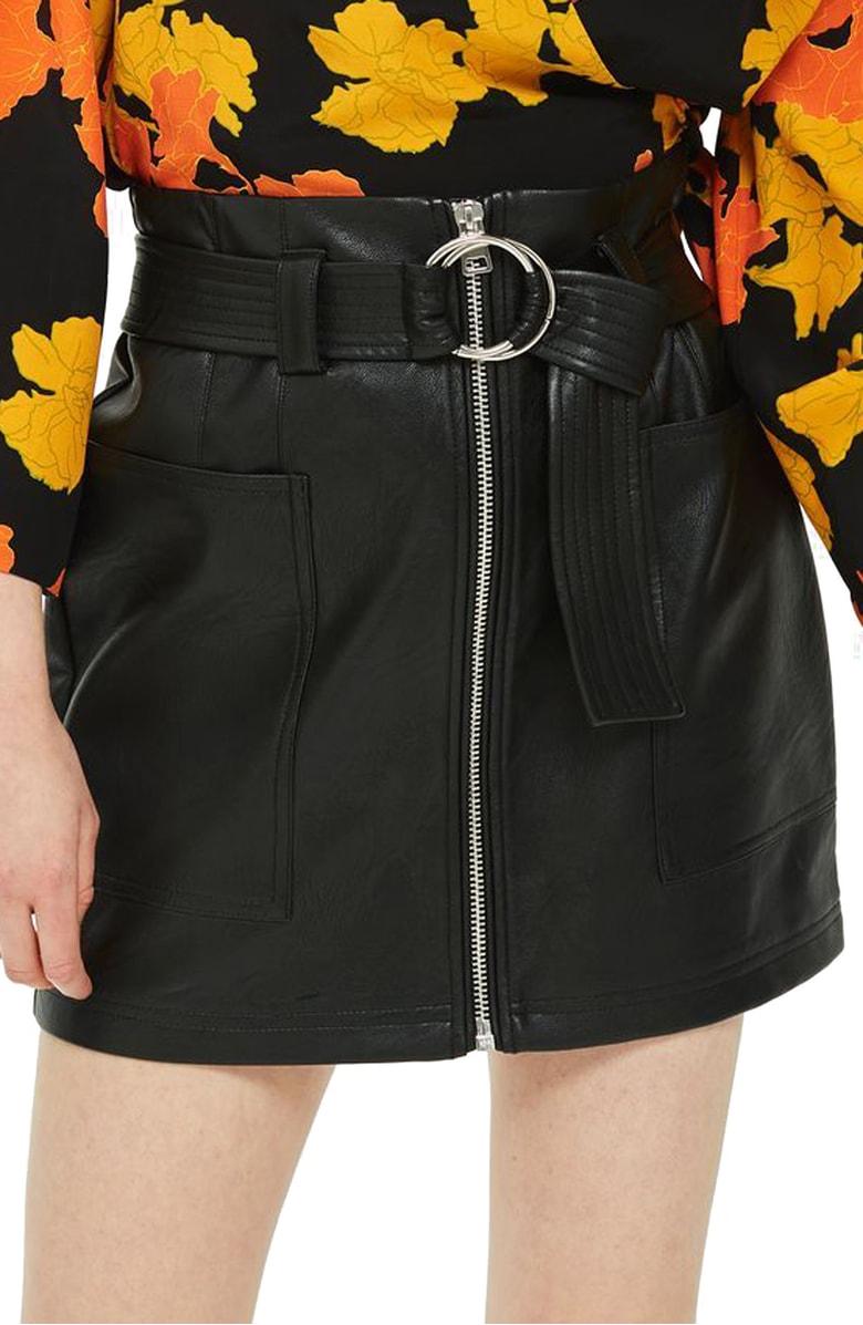 Topshop - Front Zip Faux Leather Miniskirt