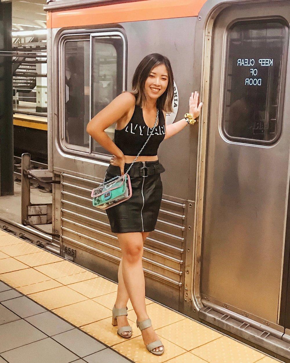 Ivy Park Sports Bra  //  Topshop Leather Miniskirt  //  YOOXI Clear Crossbody  (Amazon)