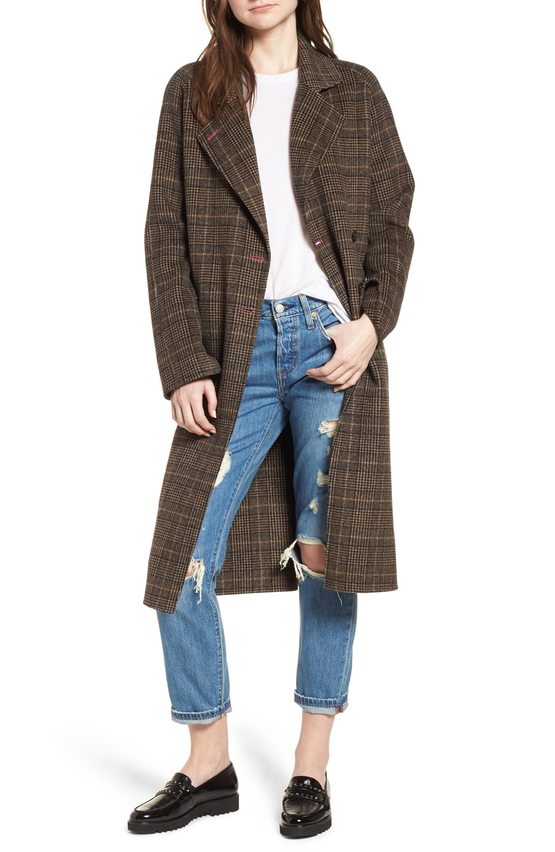 Avec Les Filles - Double Face Plaid Wool Blend Coat