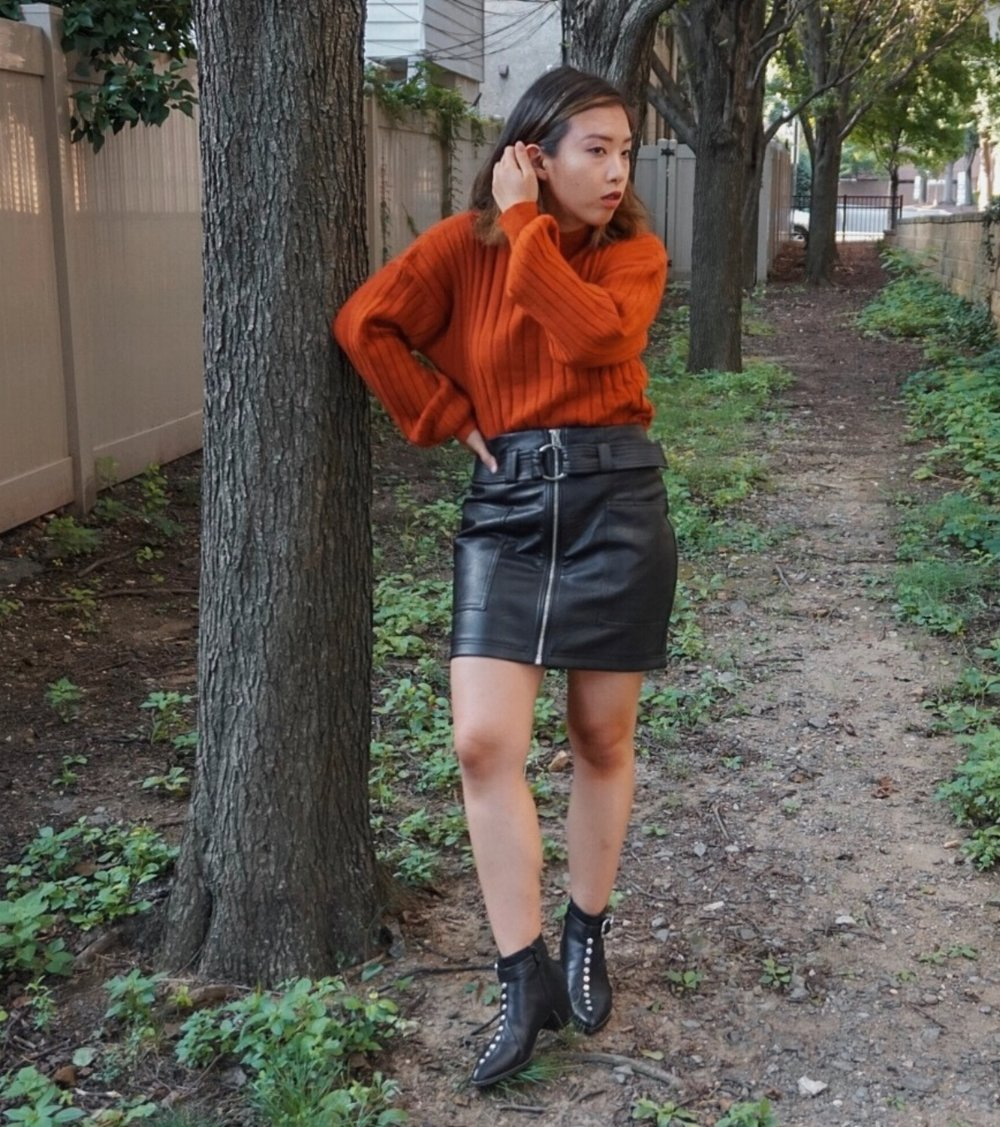 Leith Easy Rib Pullover Sweater //  Topshop Leather Miniskirt  //  Nasty Gal Studded Boots  (Similar Style)