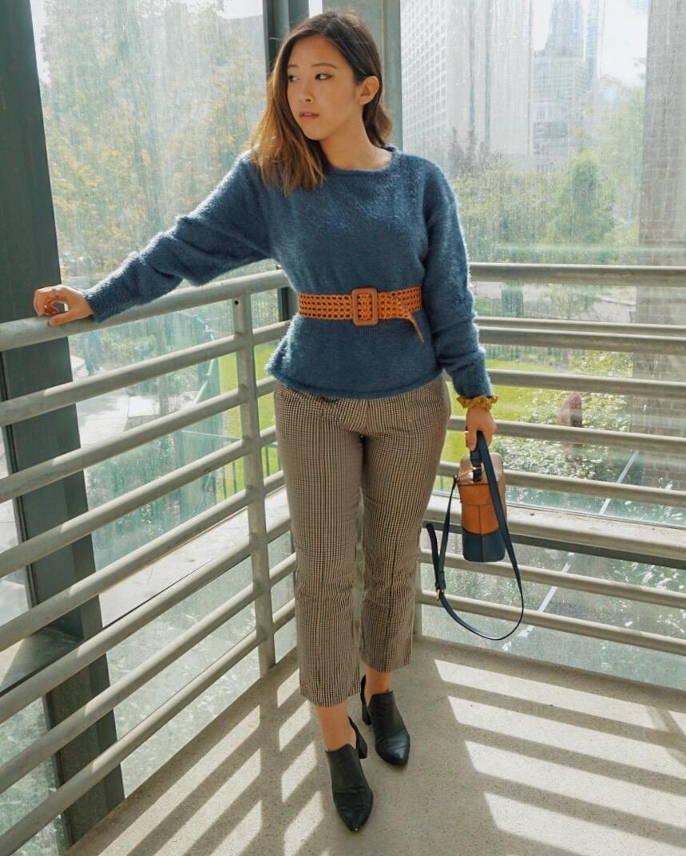 Chriselle Lim Erin Eyelash Sweater  // Mango Checkered Pants // Thrifted Buckle Belt