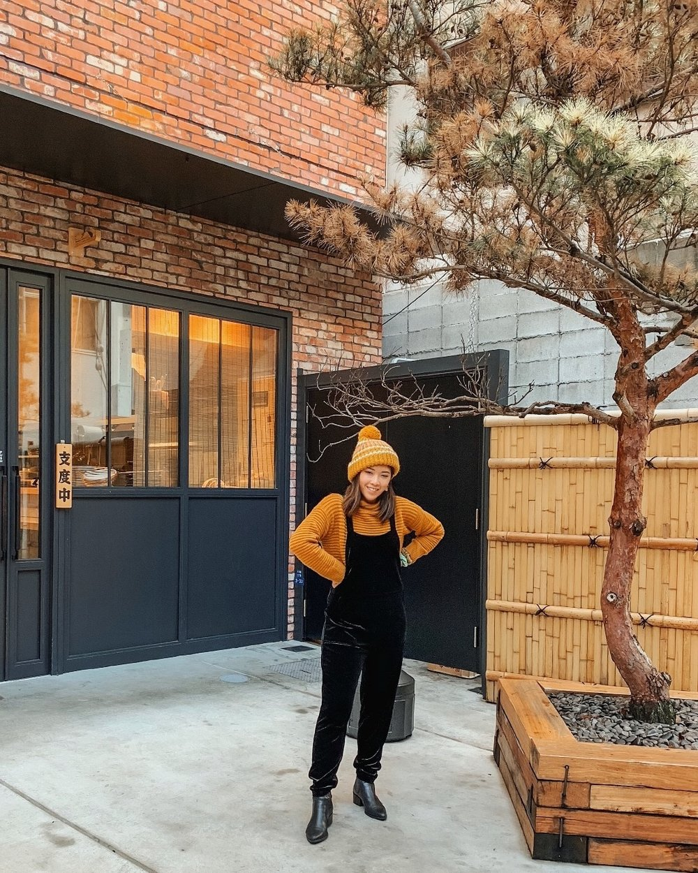Abercrombie & Fitch Pom Knit Beanie   Urban Outfitters Black Velvet Overalls: Similar Style  Here    Madewell Belmont Mockneck Sweater in Coziest Yarn : Additional 40% off on top of sale price! I am wearing size XS   Vagabond Marja Chelsea Boots