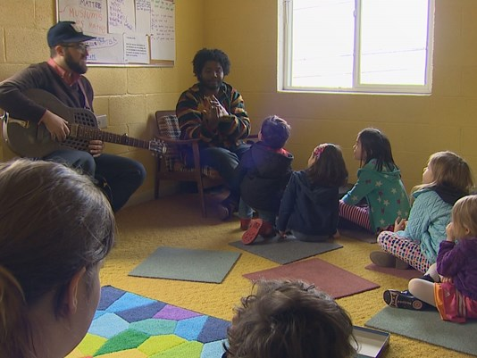 Children listening to stories at Columbia City Church of Hope in Seattle, WA.