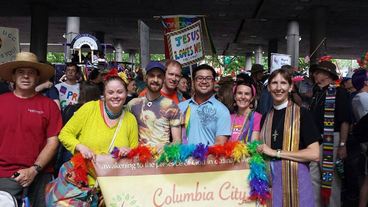 Participating in Pride festivities at Columbia City Church of Hope in Seattle, WA.