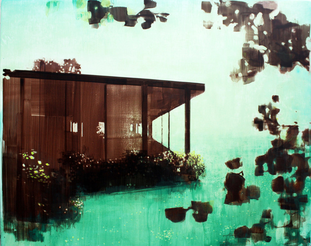 "Glass House in Heaven (Endless Privacy) #2, acrylic on wood, 30"" x 24"""