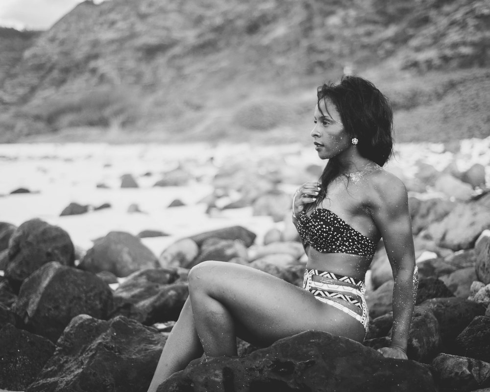 One of those beautiful people on a beautiful beach in Hawaii.