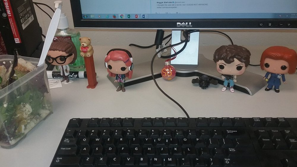 Chloe's office desk at work which showcases her BAMF ladies of SFF collection.
