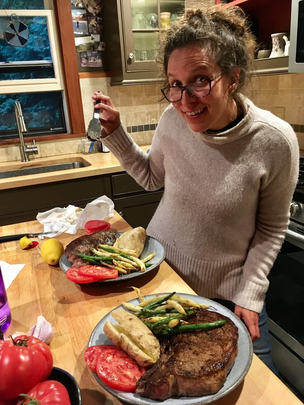 And lastly, here I am in a friend's kitchen making a gigantic meal after living on the sailing vessel Bernard for five months. Photo by Todd Everett.
