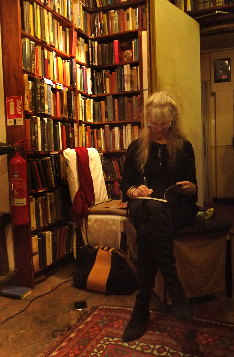 The upstairs room at Shakespeare and Company where I love to hide away and write.