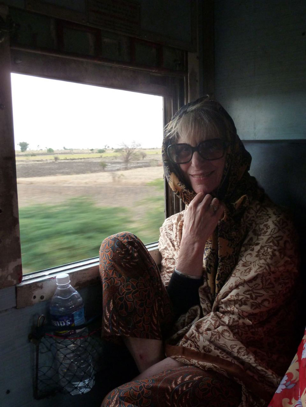 On a long train trip in India. I wrote for hours and hours on that train.