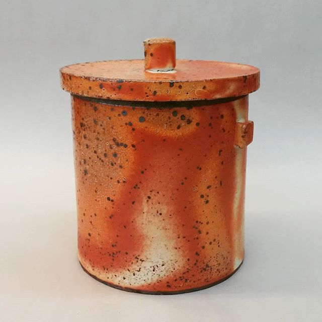 Soda fired canister with beautiful flame patterns.  #santacruzpottery #pottery #ceramics #sculpture #potterycanister #canister #sodafired