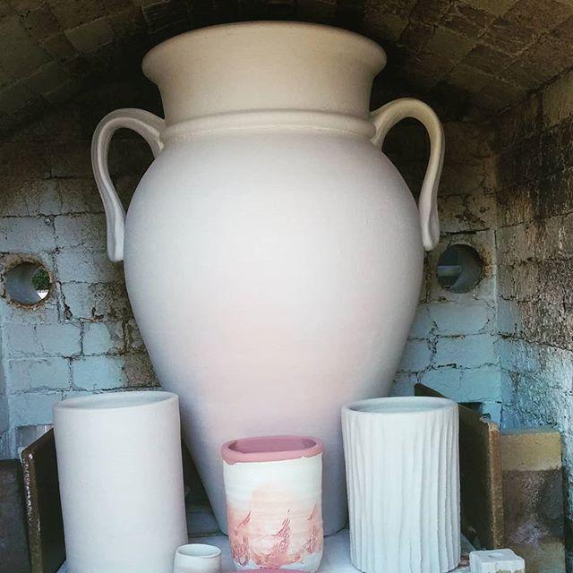 Loading the final soda kiln.  #santacruzpottery #pottery #ceramics #sculpture #sodafired #sodakiln #handmadepottery