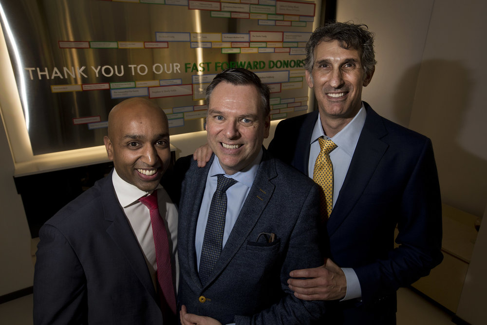 From left: Praveen Muruganandan, Director, Admission & Advancement; Conor Jones, Head of School; and Stephen Yuzpe, Chair of the Board of Directors in front our new Donor Wall.