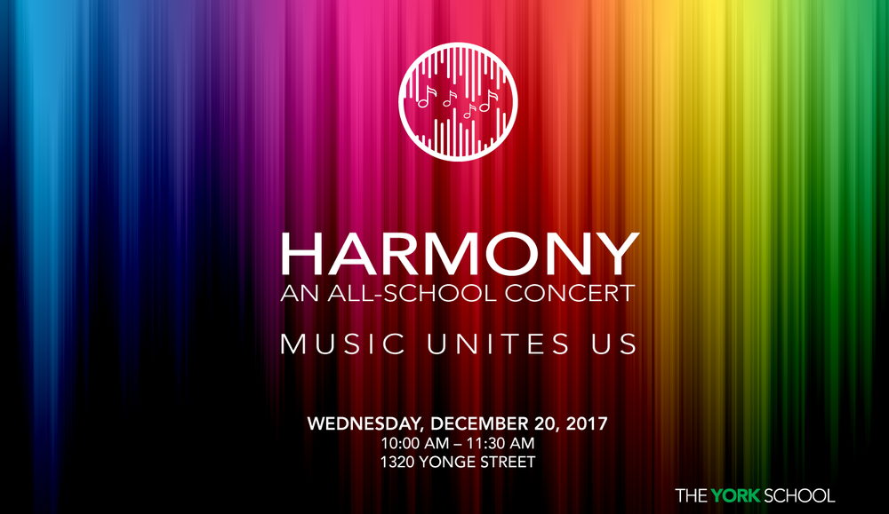 Please join us for Harmony – Music Unites Us on December 20, 2017!