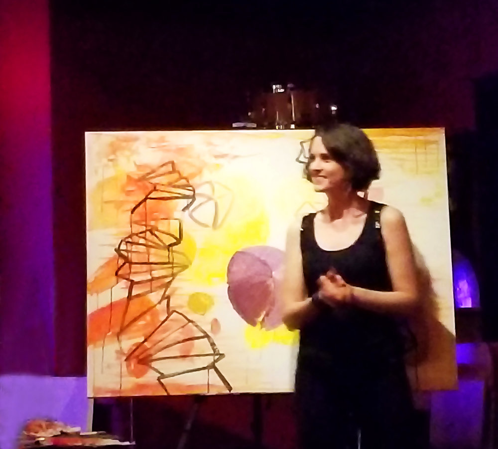 Fotini Christophillis painting live with Etznab   Photo Credit: Kedaar Kumar