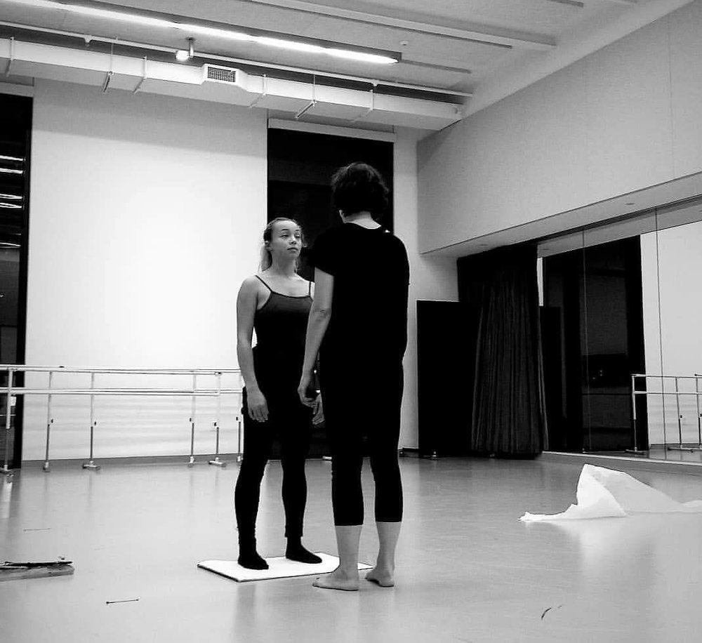 Rehearsal, dancer Odessa Anderson and painter Fotini Christophillis / Boston Conservatory