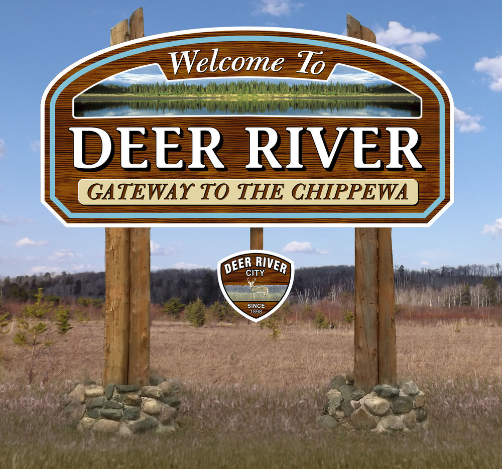Deer River Welcome Sign