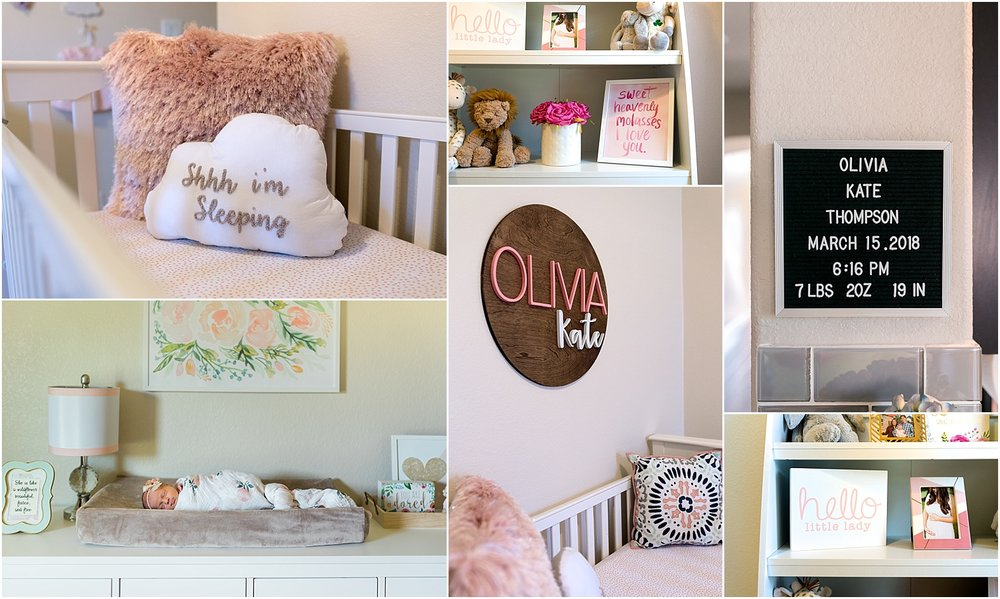 This baby girl nursery with modern touches and plenty of pink was the perfect backdrop for this family newborn session.This Katy, TX in home Newborn Lifestyle Session was full of fun, and a little mischief too. } Houston, TX Newborn Lifestyle Photographer