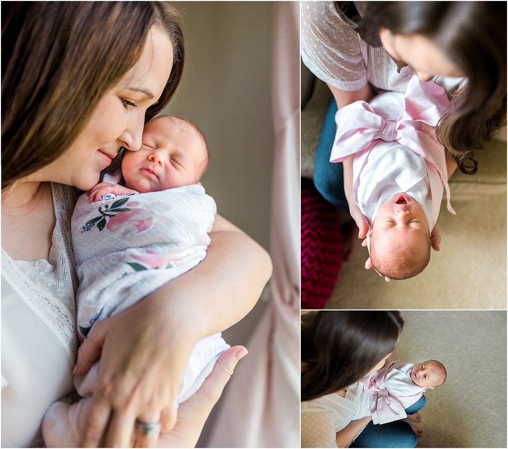 This Katy, TX in home Newborn Lifestyle Session was full of fun, and a little mischief too. Mom and baby girl get some one on one time and it makes my heart melt! |Houston, TX Newborn Lifestyle Photographer