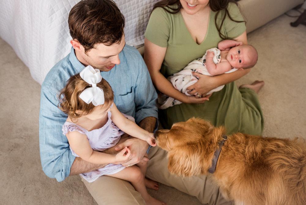 Houston, TX Newborn Lifestyle Session with Dog