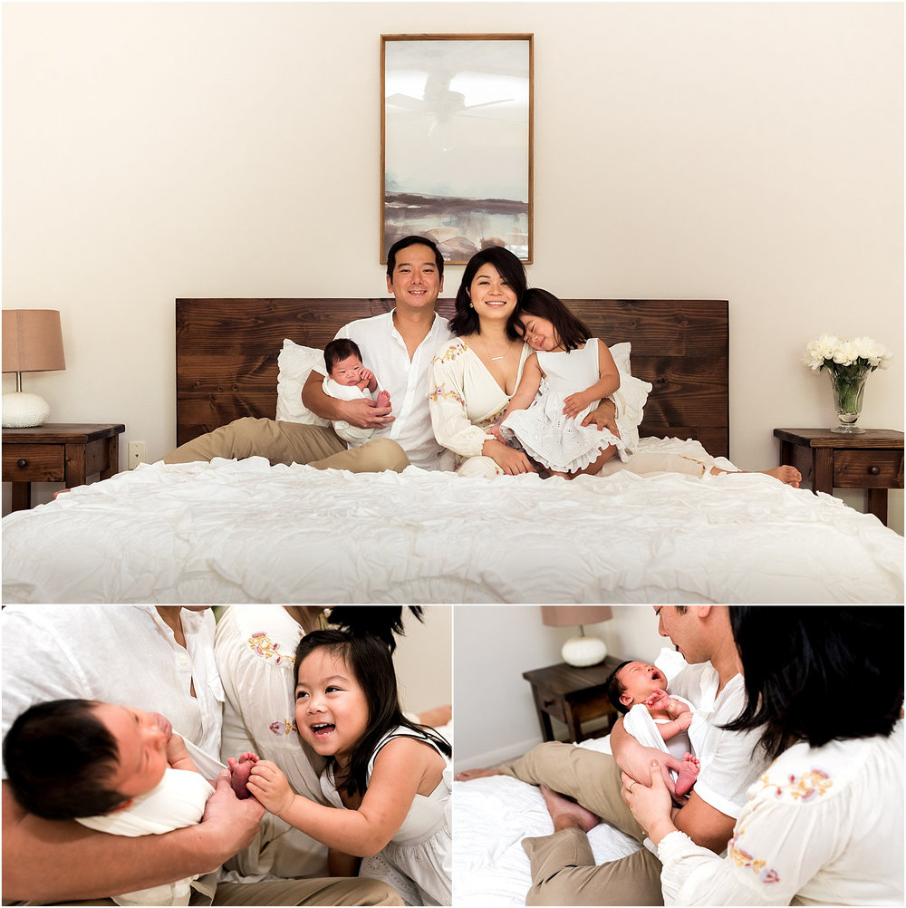 Sweet baby boy in home newborn session features minimal white details and all things modern. Family cuddles and big sister hugs make for THE perfect moments.| Dear Marlowe Photography, Houston's Premier Luxury Newborn Lifestyle Photographer